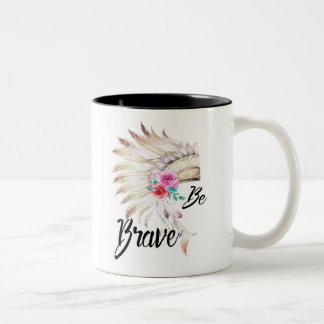 Be Brave, Watercolor Indian Headdress Two-Tone Coffee Mug