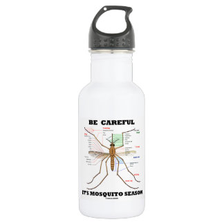 Be Careful It's Mosquito Season (Mosquito Anatomy) Water Bottle