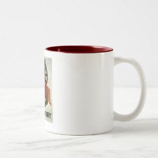 Be Careful Near Machinery - WPA Poster - Two-Tone Coffee Mug