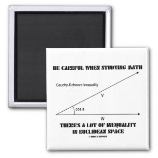 Be Careful When Studying Math Inequality Euclidean 2 Inch Square Magnet