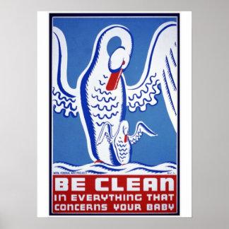 Be Clean Vintage WPA Poster