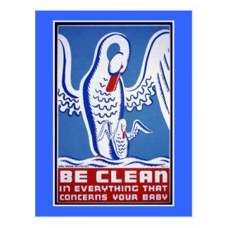 Be Clean Vintage WPA Poster Postcard
