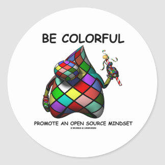 Be Colorful Promote An Open Source Mindset (Duke) Round Stickers