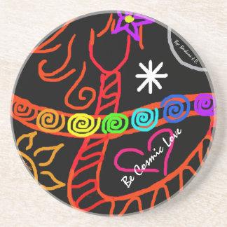 """Be Cosmic Love"" Sandstone Drink Coaster"