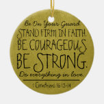 Be courageous and strong bible verse Double-Sided ceramic round christmas ornament