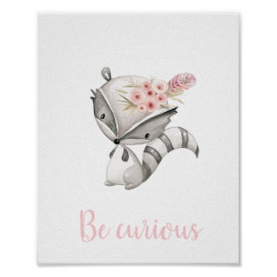 Be Curious Cute Baby Rac Woodland Boho Nursery Poster