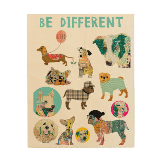 BE different dog collage on wood Wood Print