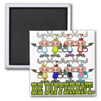 BE DIFFERENT funny funky cows Fridge Magnet