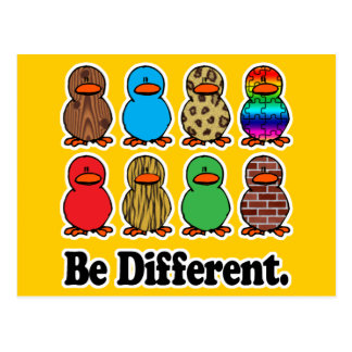 be different funny pattern ducky ducks postcard