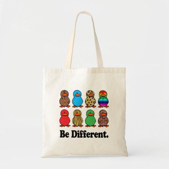 be different funny pattern ducky ducks tote bag