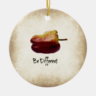 """Be Different"" Purple Bell Pepper Ceramic Ornament"