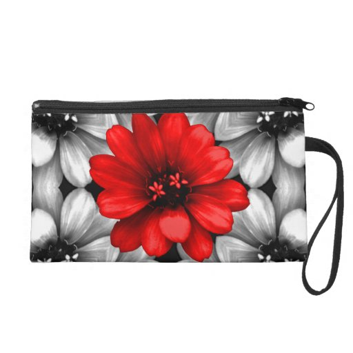 Be Different Red Flower Wristlet Purse