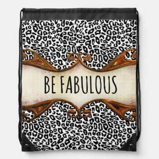 Be Fabulous Quote with Animal Print Drawstring Backpacks