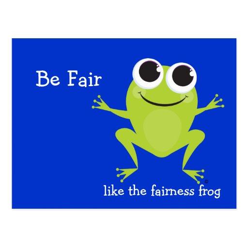 """Be Fair"" Cute hopping frog Post Card"