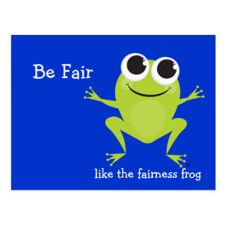 """Be Fair"" Cute hopping frog Postcard"