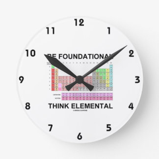 Be Foundational Think Elemental (Periodic Table) Round Clock