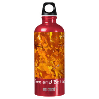 Be Free and Be Happy Autumn Leaves Aluminum Water Bottle
