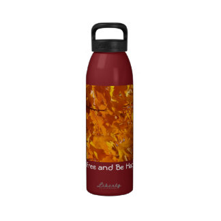 Be Free and Be Happy water bottles Autumn Leaves