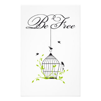 be free, open birdcage with birds and branches custom stationery