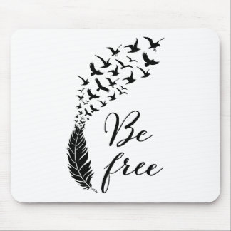 Be free with feather and birds mouse pad