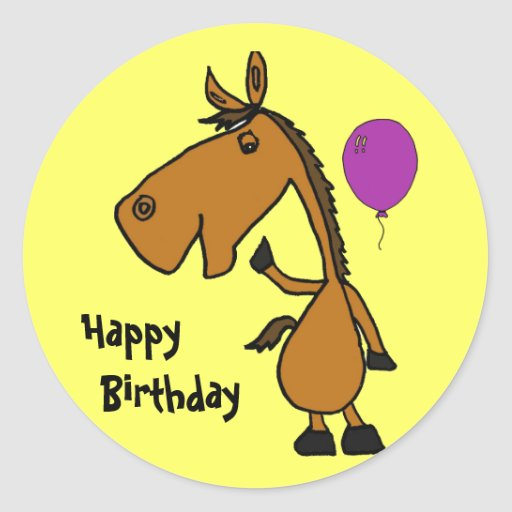 BE- Funny Horse Birthday Stickers