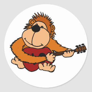 BE- Funny Orangutan Playing the Guitar Classic Round Sticker