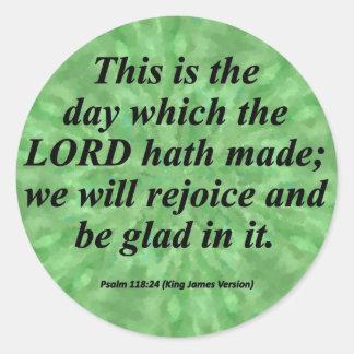 Be Glad Psalm 118-24  Condensed Sticker