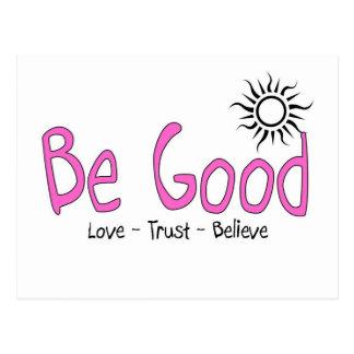 be good logo pink postcard
