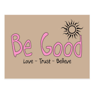 be good logo pink w/ brown back postcard