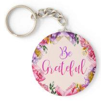 Be Grateful Pink Peony Key Chain
