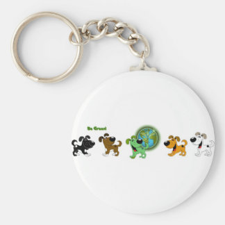 Be Green Basic Round Button Keychain