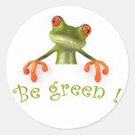 Be green ! classic round sticker
