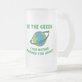 Be Green Frosted Glass Beer Mug