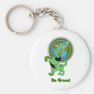 Be Green! (Leaf) Basic Round Button Keychain