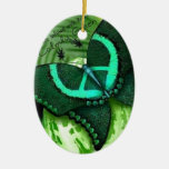 Be Green Double-Sided Oval Ceramic Christmas Ornament