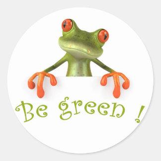 Be green ! round sticker