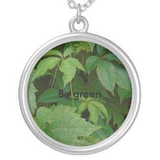 be green woodland elven green organic autumn round pendant necklace