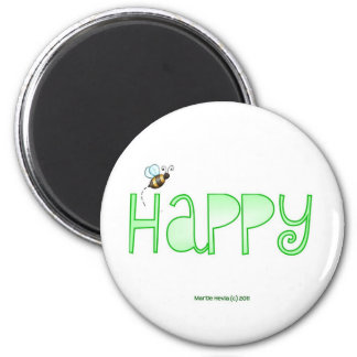 Be Happy - A Positive Word - Apparel (Green) 2 Inch Round Magnet