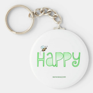 Be Happy - A Positive Word - Apparel (Green) Keychain