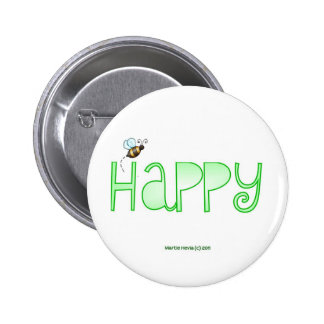 Be Happy - A Positive Word - Apparel (Green) Pinback Button