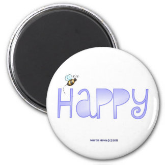 Be Happy - A Positive Word - Round (Blue) 2 Inch Round Magnet