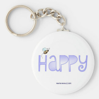 Be Happy - A Positive Word - Round (Blue) Keychain