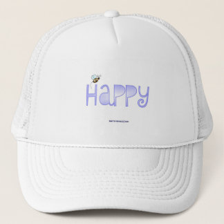 Be Happy - A Positive Word - Round (Blue) Trucker Hat