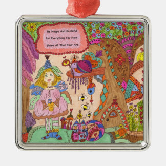Be Happy And Grateful Fairy Metal Ornament