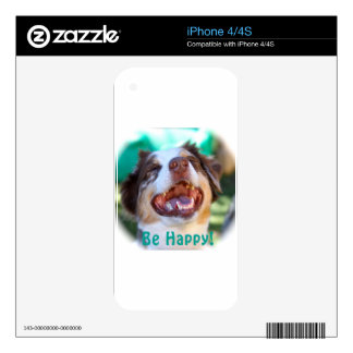 Be Happy!   Australian Shepherd Decal For iPhone 4S