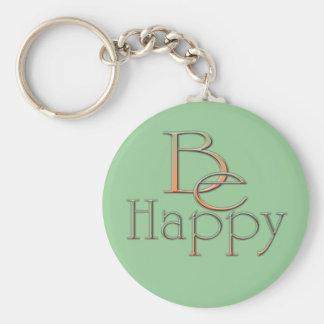 Be Happy Basic Round Button Keychain