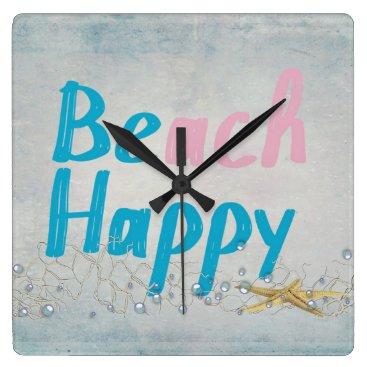 Beach Themed be happy-beach and starfish square wall clock