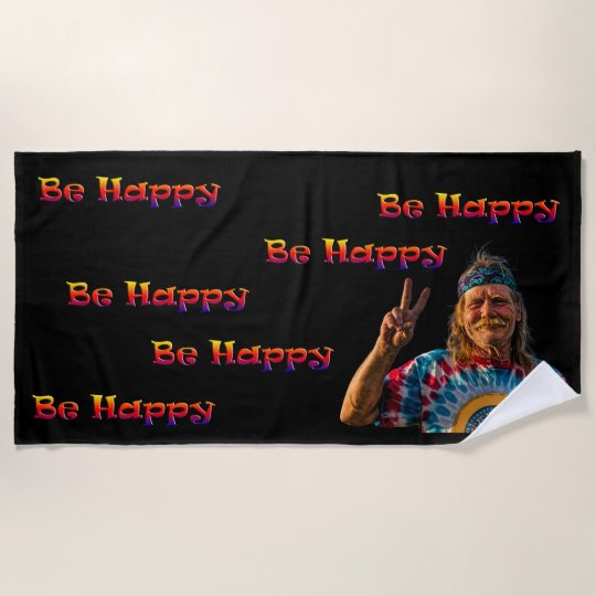 Personalised Beach Towel Pegs: BE HAPPY BEACH TOWEL
