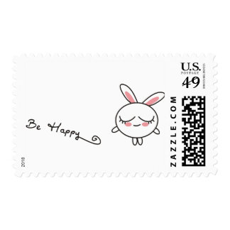 Be Happy Bunny Postage Stamps