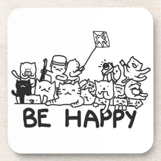 Be Happy Cats Doodle Hard Plastic coasters